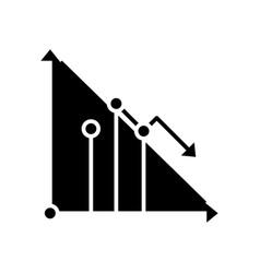 Decreasing data black icon concept vector