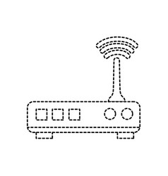 Dotted shape router digital wifi technology vector