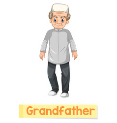 Educational english word card of grandfather vector