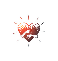 Empathy heart love charity support concept vector
