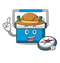 Explorer freezer bag mascot cartoon vector