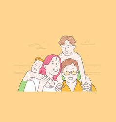 family travel together childhood concept vector image