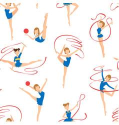 Female gymnasts doing rhythmic gymnastics seamless vector
