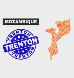 fired mosaic mozambique map and scratched trenton vector image