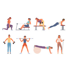 Fitness in gym set female character shakes vector