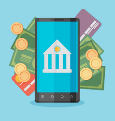 flat design colored concept for mobile banking vector image