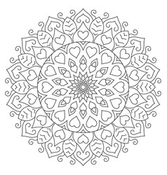 Flower mandala with hearts coloring page for vector