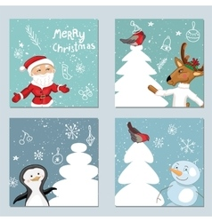 Four square templates with Christmas characters vector image