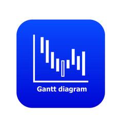 Gantt diagram icon blue vector