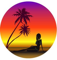 girl on beach under vector image