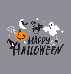 happy halloween greeting card poster banner hand vector image