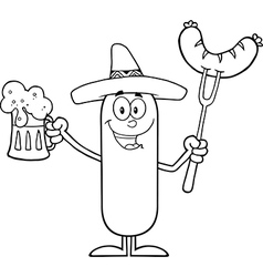 Happy Mexican Sausage Cartoon vector image