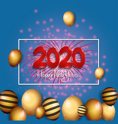 Happy new year 2020 red number with confetti vector