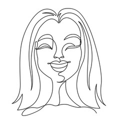 happy woman laughing one line art portrait vector image