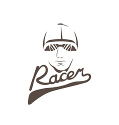Head of racer vintage design template vector