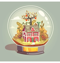 House in glass globe vector