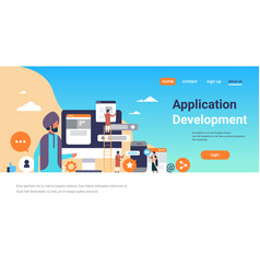indian people mobile application development vector image