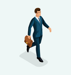 isometric of a young businessman goes forward the vector image