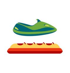 Jet ski and banana boat concepts icons vector