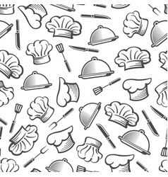 Kitchen seamless pattern - chef hat dish and vector