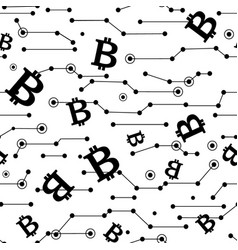 Lines and bitcoins seamless pattern vector