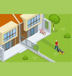man mowing lawn with yellow lawn mower in vector image