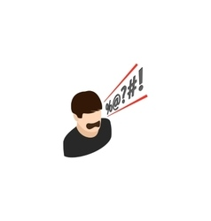 Man shouting curses icon isometric 3d style vector