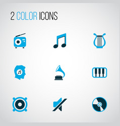 music icons colored set with octave tuner vector image
