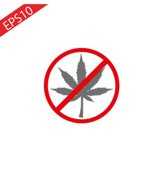 no marijuana no drugs cannabis leaf prohibition vector image