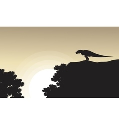 On the cliff Tyrannosaurus scenery of silhouettes vector image