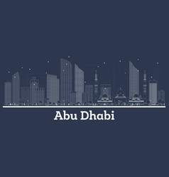 outline abu dhabi uae city skyline with white vector image