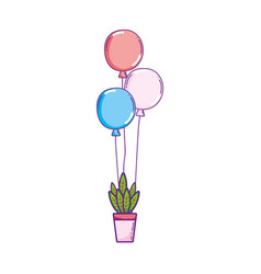 party balloons helium with houseplant vector image