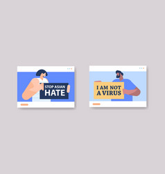 people holding banners against bullying and racism vector image