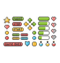 pixel game icon ui web bars and buttons for 8 bit vector image