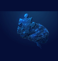 puzzle and brain low poly blue vector image