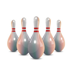 Realistic bowling icon set isolated on white vector