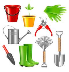 realistic gardening tools set vector image