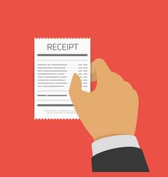 receipt in hand vector image