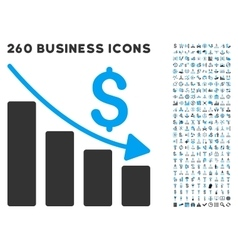 Recession Icon with Flat Set vector image