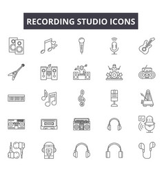 recording studio line icons signs set vector image