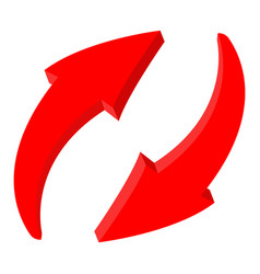 red recycle arrows web 3d icon vector image