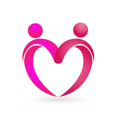 relationship love people couple forming a heart vector image