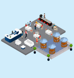 restaurant service isometric composition vector image
