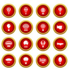 Retro balloons aircraft icon red circle set vector