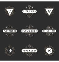 Royal logos design templates set flourish vector