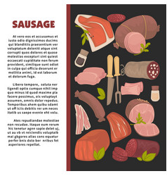 sausage promo poster with sample text and meat vector image