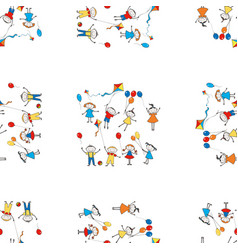 seamless pattern cartoon playful kids with vector image
