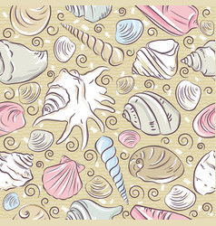 seamless patterns with summer symbols shellfish vector image