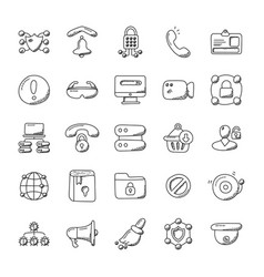 Security alert doodle icons vector