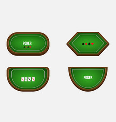 Set four poker tables in different shape vector